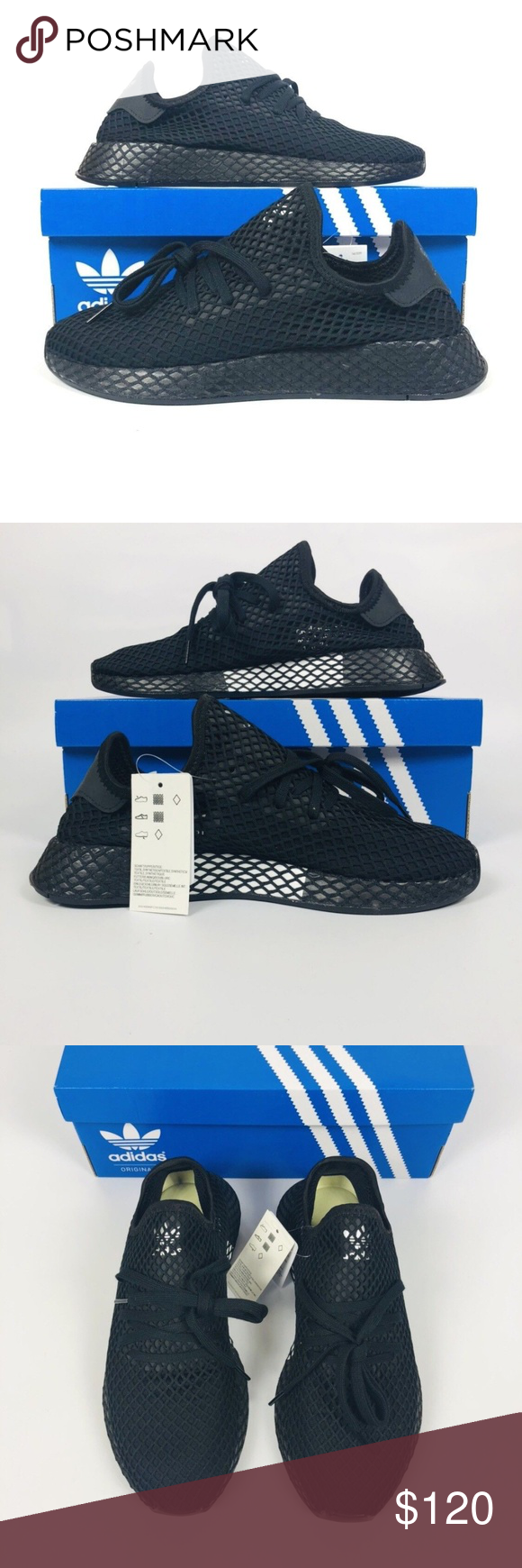 sports shoes 912d1 b2598 adidas Originals Deerupt Runner adidas Originals Deerupt Runner Men s Black  Black White B41768 NEW New With Box Shipped Double Boxed adidas Shoes  Sneakers