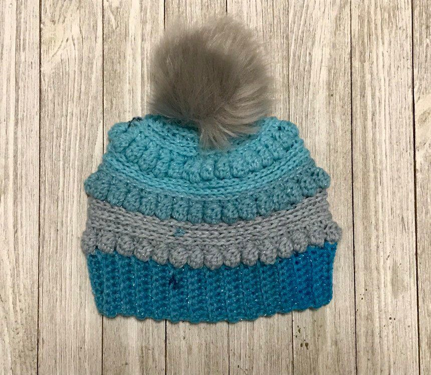 317017060f0 Excited to share this item from my  etsy shop  Bubblegum Pop Bobble Hat in  Blue and Grey