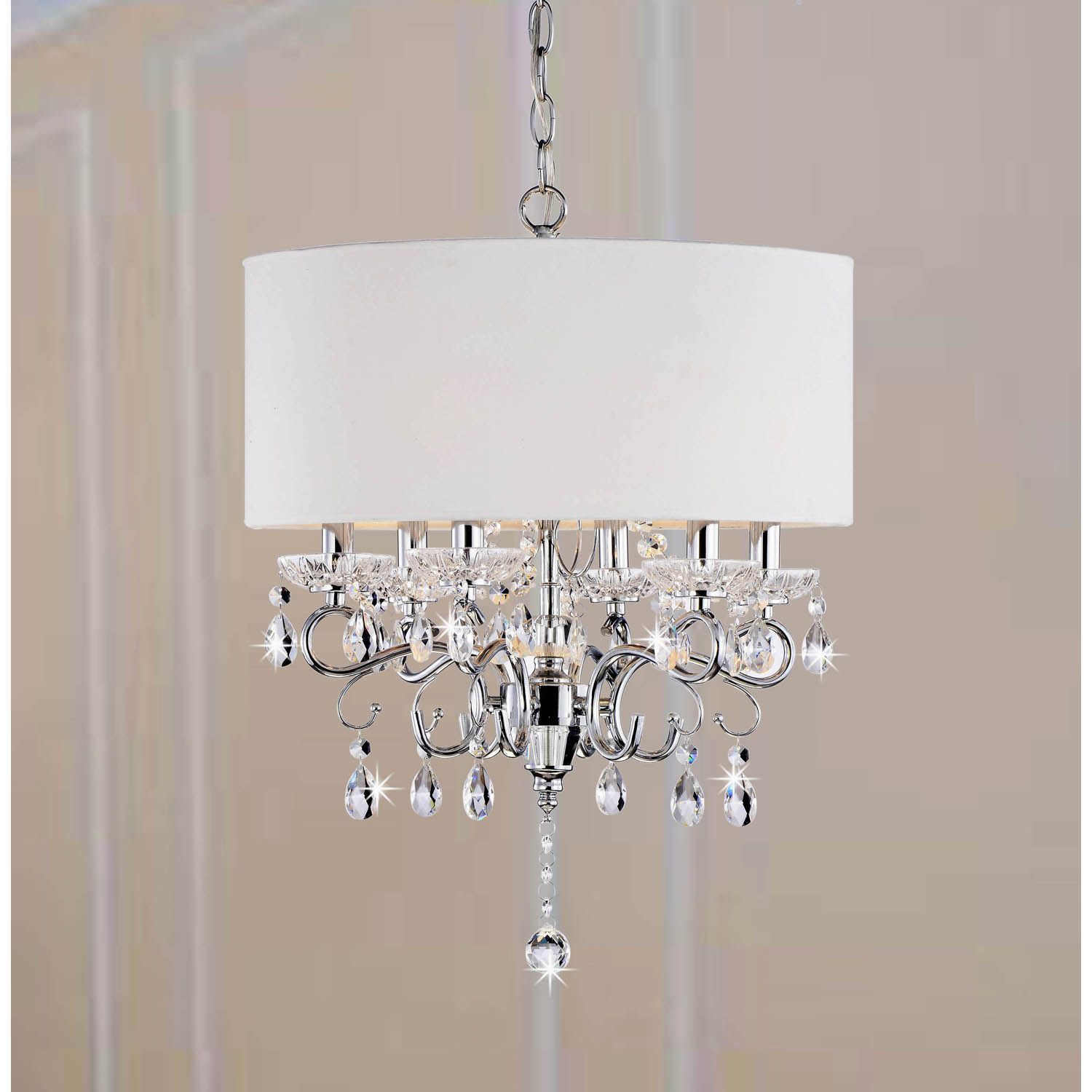Allured Crystal ChandelierSolid White Shade