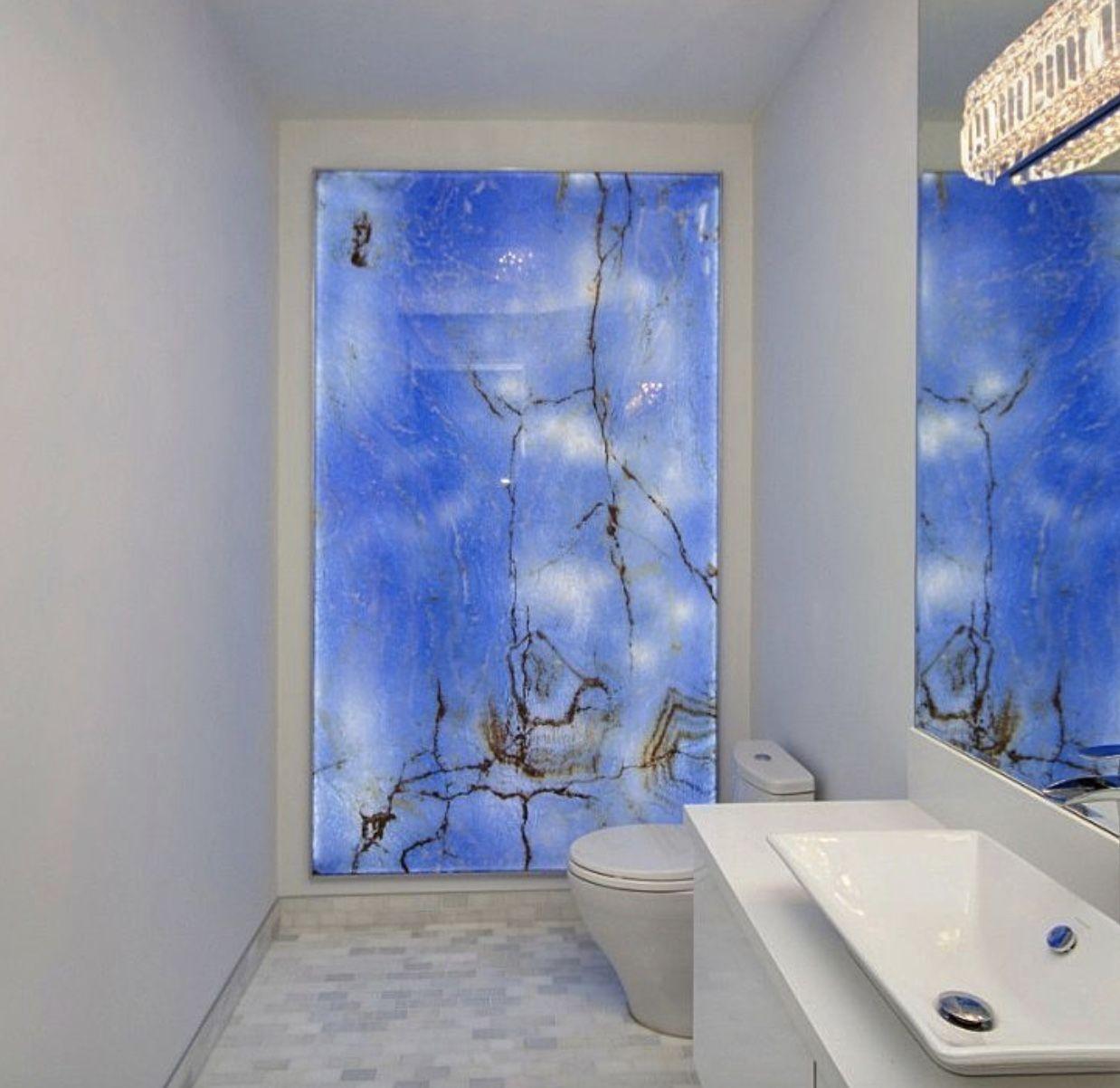 Backlit blue onyx bathroom feature wall. Powder room. | Blue Onyx ...