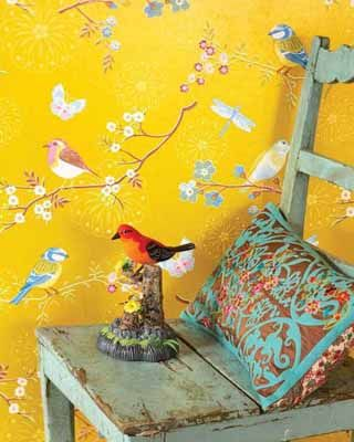 Wallpaper With Birds bird pattern wallpaper | modern wallpaper patterns, yellow