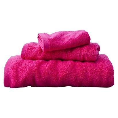 Room Essentials Fast Dry Solid 3 Pc Bath Towel Set Dashing Pink