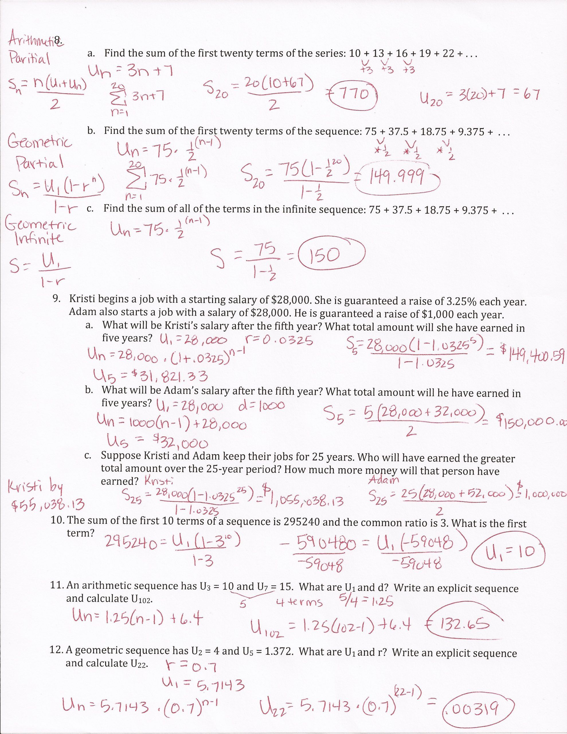 Geometric And Arithmetic Sequence Worksheet Arithmetic