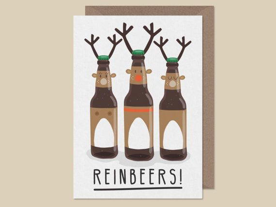 New Funny Christmas Pugding.Funny christmas card.foodie christmas card.pun card.christmas card dog.pug christmas card.handmade.pug pun card.christmas pudding Reinbeers! Funny christmas card. christmas drinking card. craft beer. rudolph red nose reindeer. 5