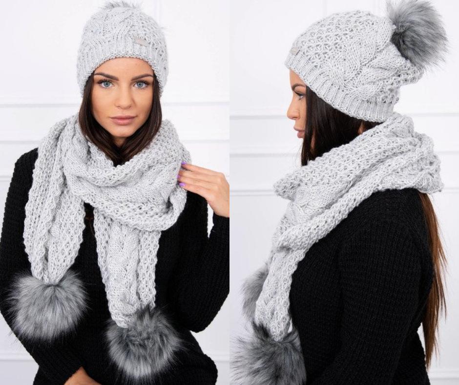 e46c112c2 Komplet zimný sivý   Čiapky a šály   Fashion, Crochet a Winter