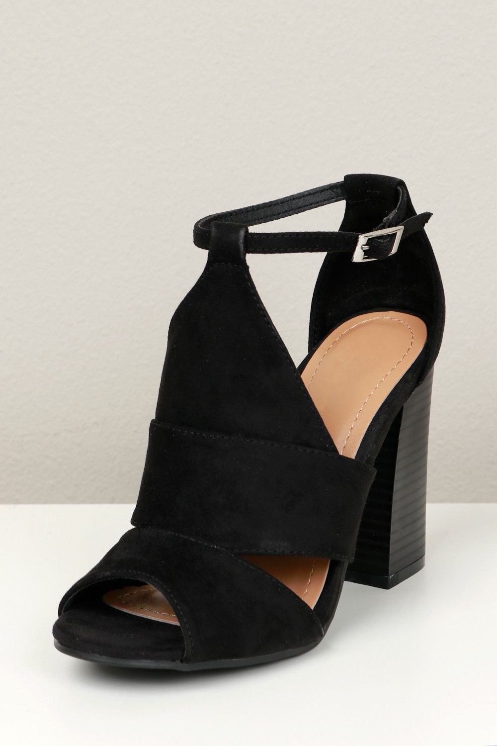 b6a7638ed842 Cut Out Peep Toe Heel Black