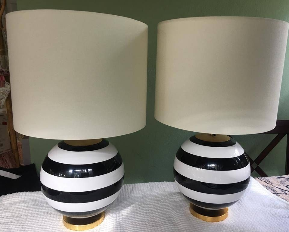 Kate Spade Black White Striped Globe Table Lamps Silver Decor