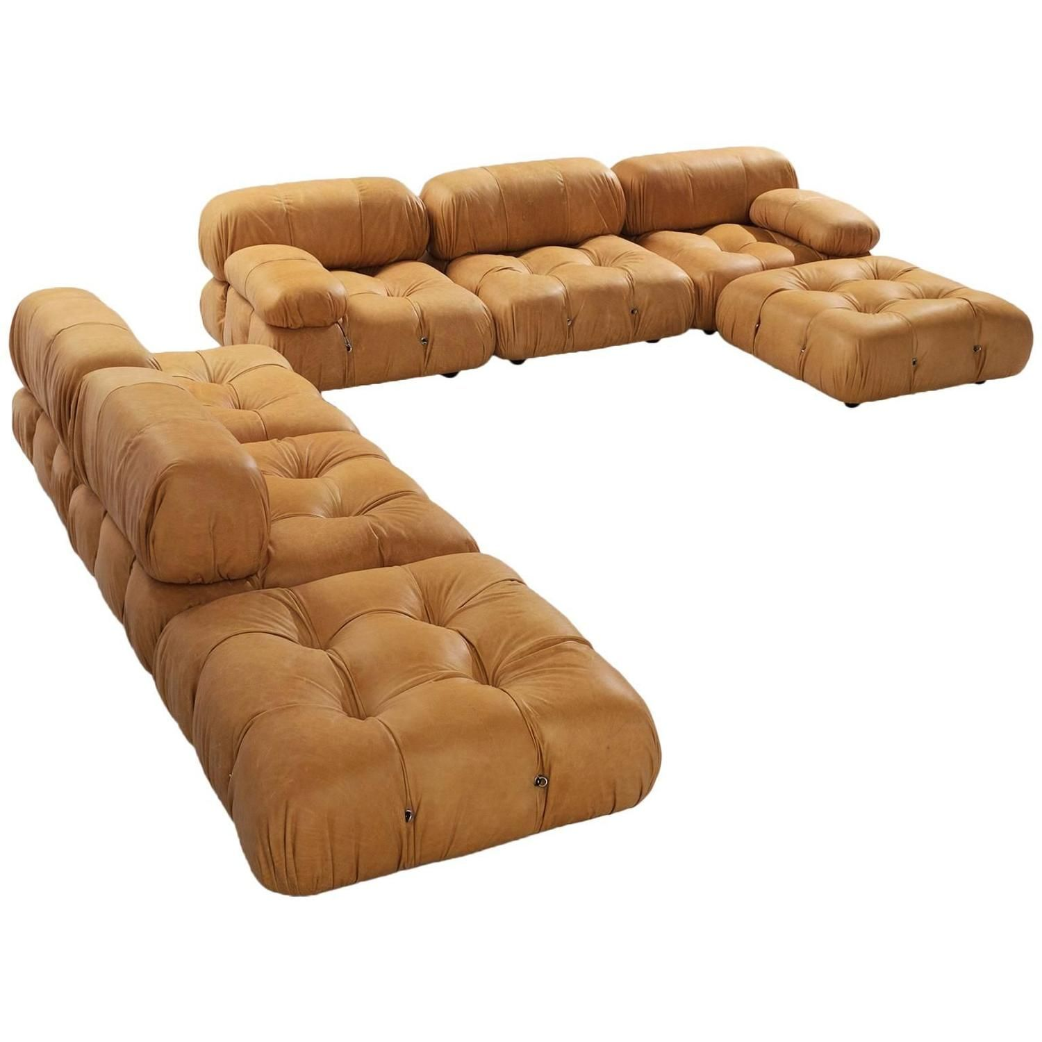 Mario Bellini Reupholstered Camaleonda Sectional Sofa in Cognac