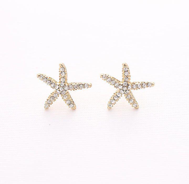 Gold Starfish Earrings Beach Wedding Bridal Bridesmaid Crystal Earring Accessory Nautical Rhinestone Jewelry