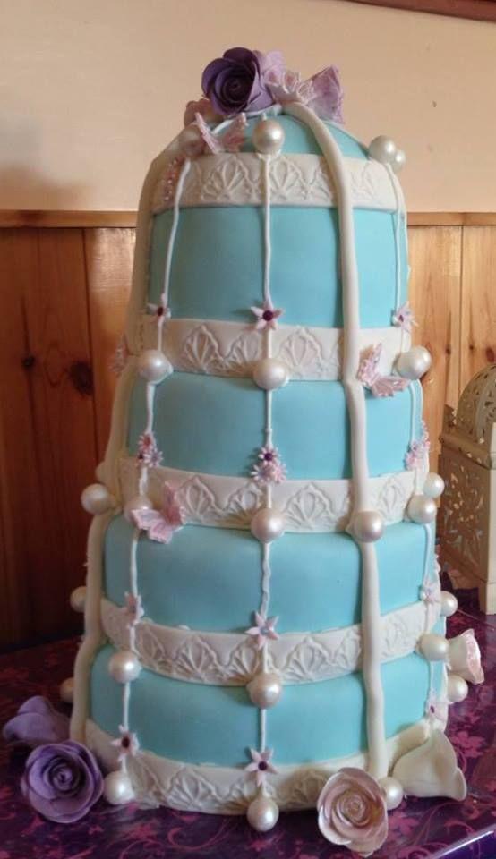 Beautiful Birdcage inspired wedding cake, my first large cake