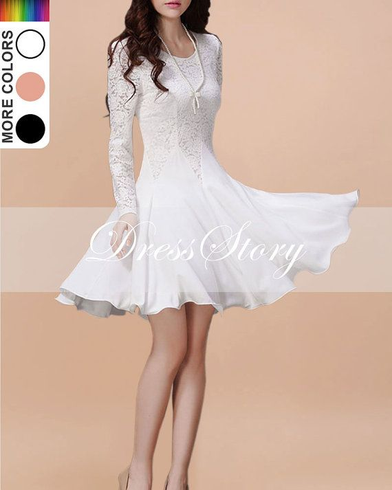 Long Sleeved White Lace Chiffon Dress / Little White Dress / White ...