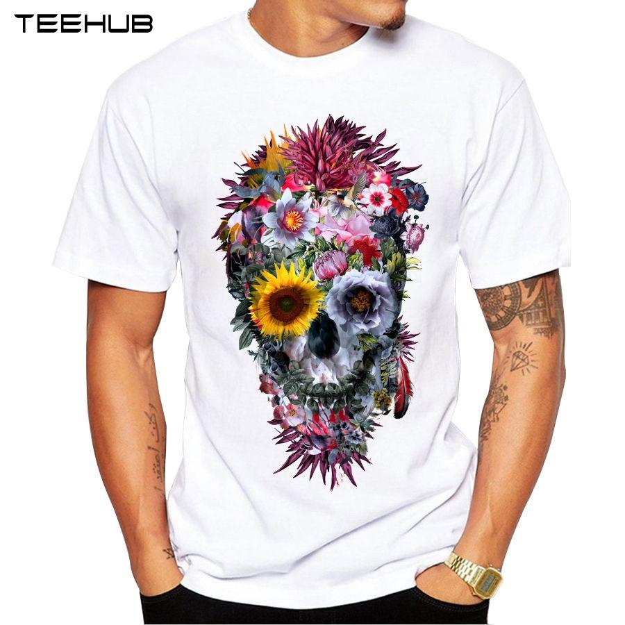 2018 hombres T Camisas moda vudú cráneo diseño manga corta casual Tops  Hipster flor cráneo impreso camiseta Cool tee 752b4b7f8c548