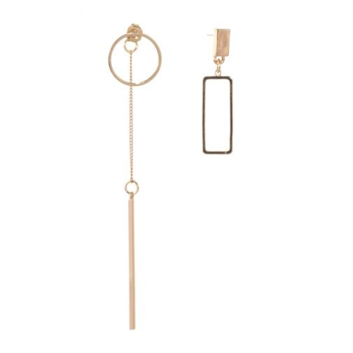 Minimalist Costume Jewellery Asymmetric Rose Gold Earrings with One