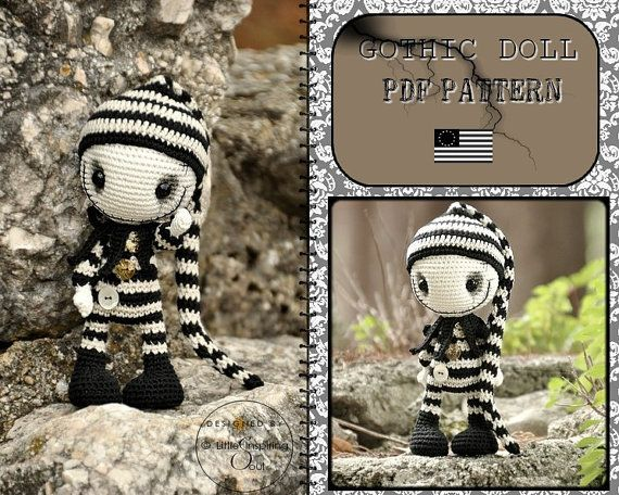 gothic doll amigurumi - ENGLISH PDF digital pattern | Häkelanleitung ...