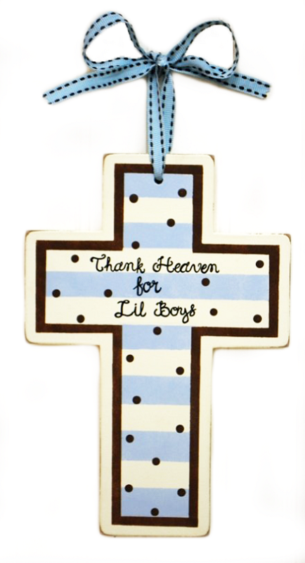 Thank Heaven For Lil Boys Cross Blue And Chocolate Wooden Cross Nursery Fabric Kids Decor