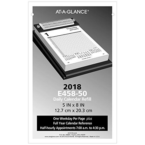 At A Glance Daily Desk Calendar Refill 2018 5 X 8 E45850 Daily Desk Refill Pages Fit A Pad Style Calendar Base And Provide Easy Daily Planning From Your D With Images