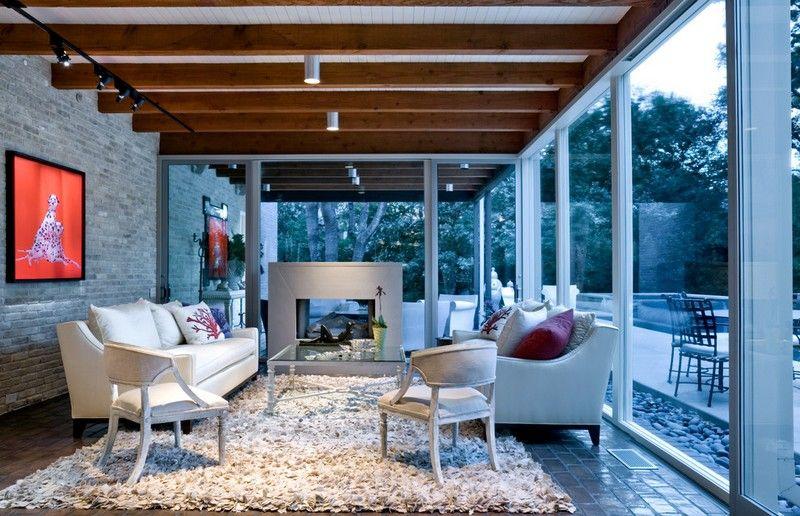 Wintergarten-modern-einrichten-Metall-Kamin-Shaggy-Teppich | Haus ...