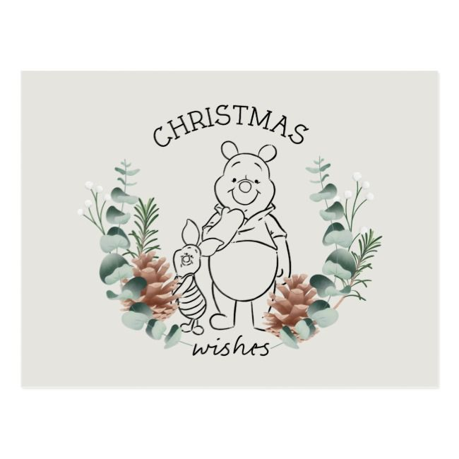 Pooh & Piglet | Christmas Wishes Wreath Postcard | Zazzle.com
