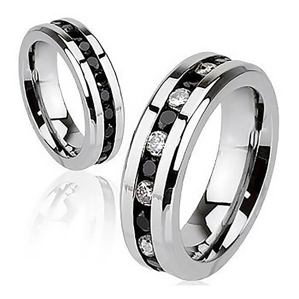 Stainless Steel Black Channel-Set Eternity Comfort Fit Wedding Band Ring with Clear CZ