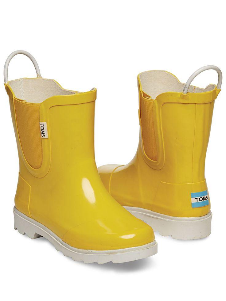 Yellow White Tiny Toms Rain Boots Toms Kids Rain Boots Rubber Rain Boots Boots
