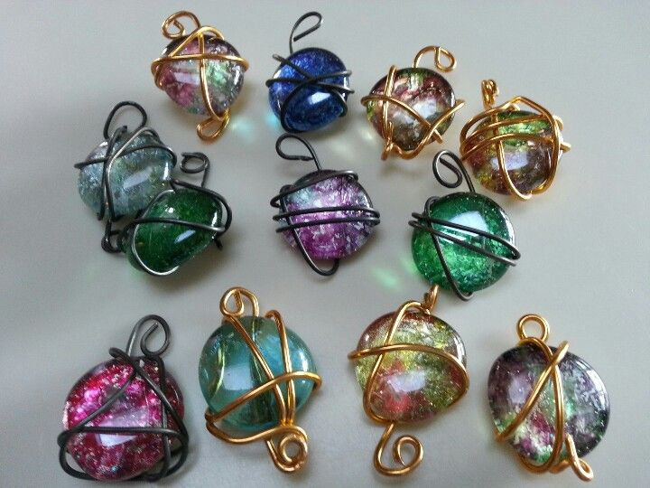Dollar store craft wire wrapped pendants