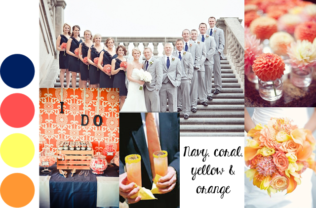 Navy And Coral Wedding.Navy Coral Yellow And Orange Wedding Color Palette A Perfect Mix