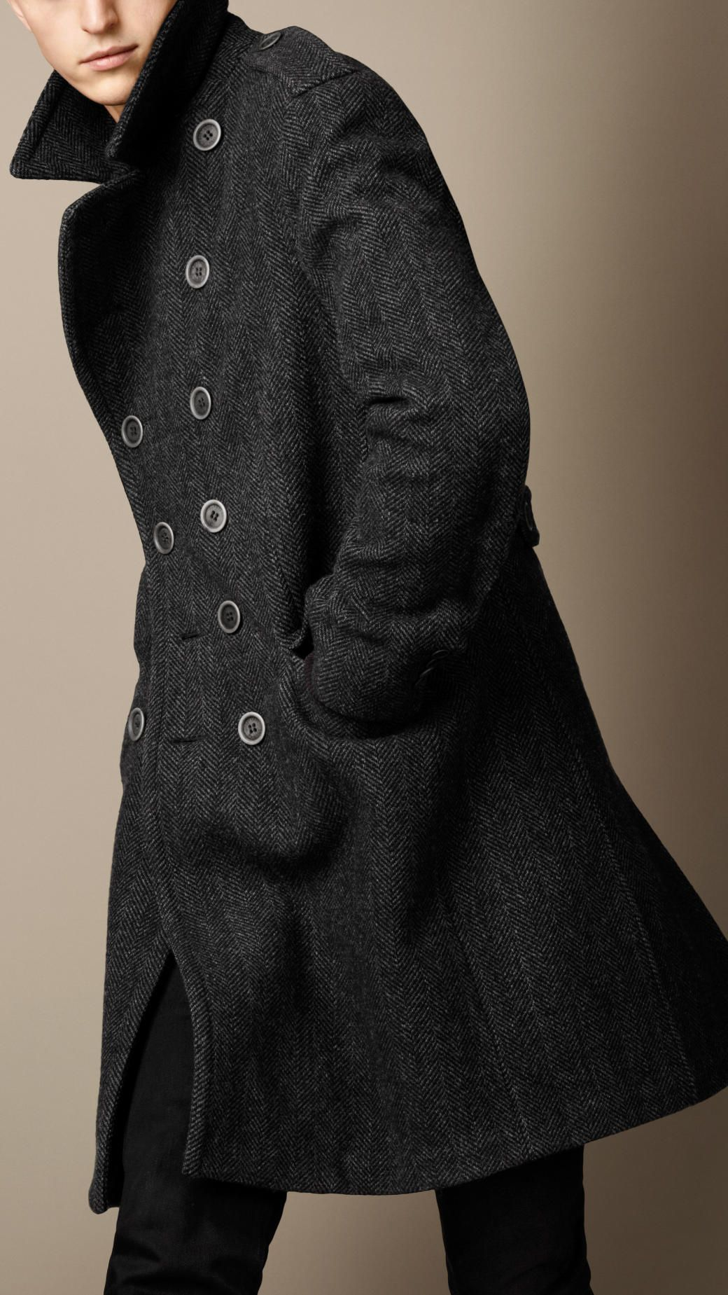Bonded Wool Herringbone Coat   Burberry