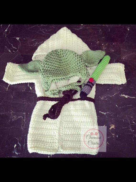Crochet Baby Yoda Star Wars Inspired Photo Prop with Robe and Light ...
