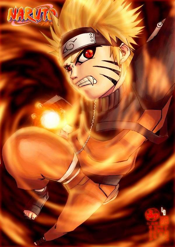 naruto using his nine tails chakra to form an orange rasengan