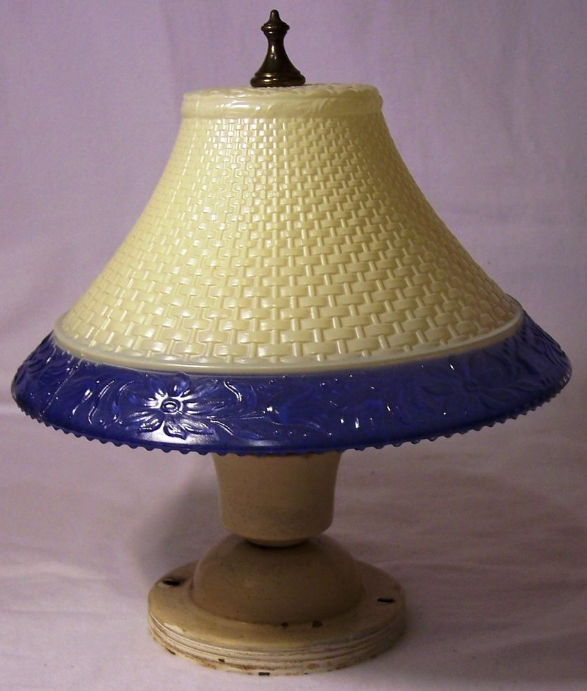 Depression glass pattern glass lamp shade basketweave blue floral border,fixture