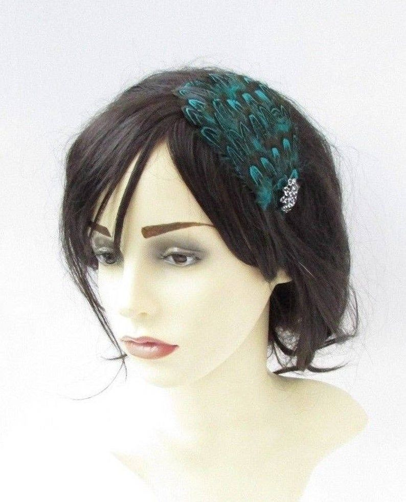 Teal Blue Green Black Pheasant Feather Fascinator Headband Races 1920s Hair 5082 Hairband Hair Band