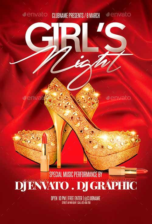 Girls Night Red Night Party Flyer Template ffflyer – Red Flyer Template