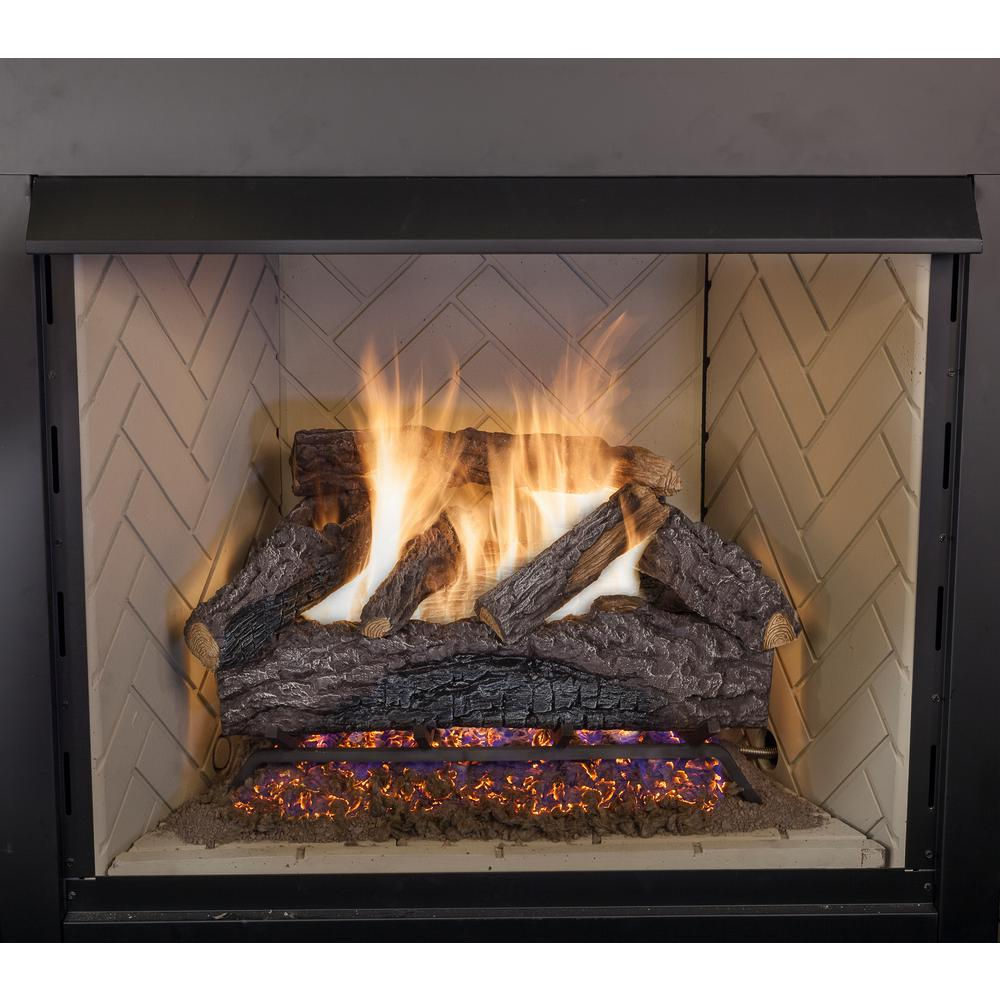 30 In Charred River Oak Vented Natural Gas Fireplace Logs Set