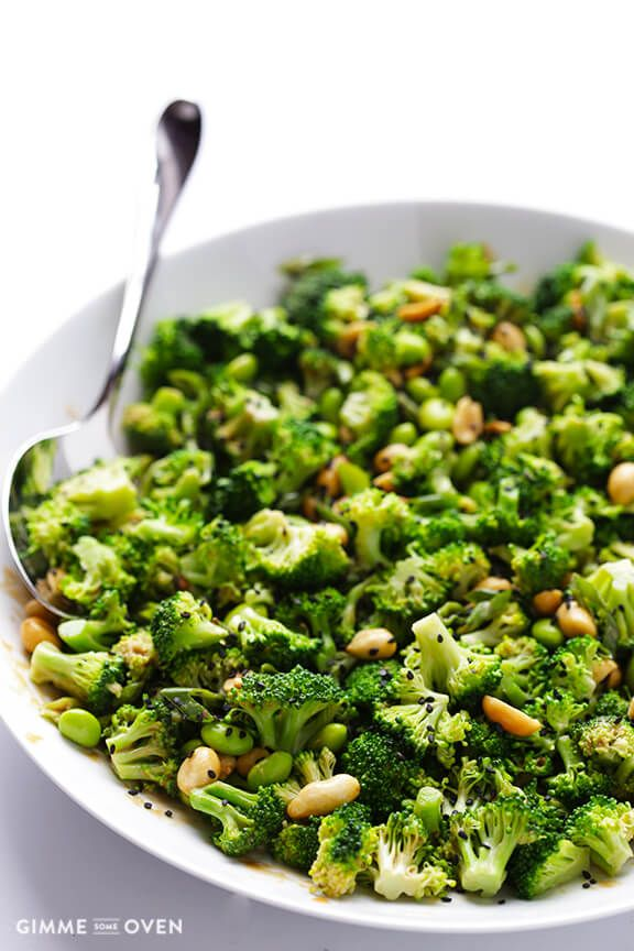 Asian Broccoli Salad With Peanut Sauce Gimme Some Oven Recipe Broccoli Recipes Side Dish Healthy Side Dishes Asian Broccoli
