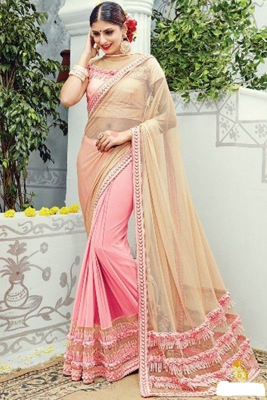 9c3774a332 Elysian Red Color Saree For Karva Chauth— $88.10 (Save 10%!) Latest good  looking designer elysian red color saree for karva chauth.