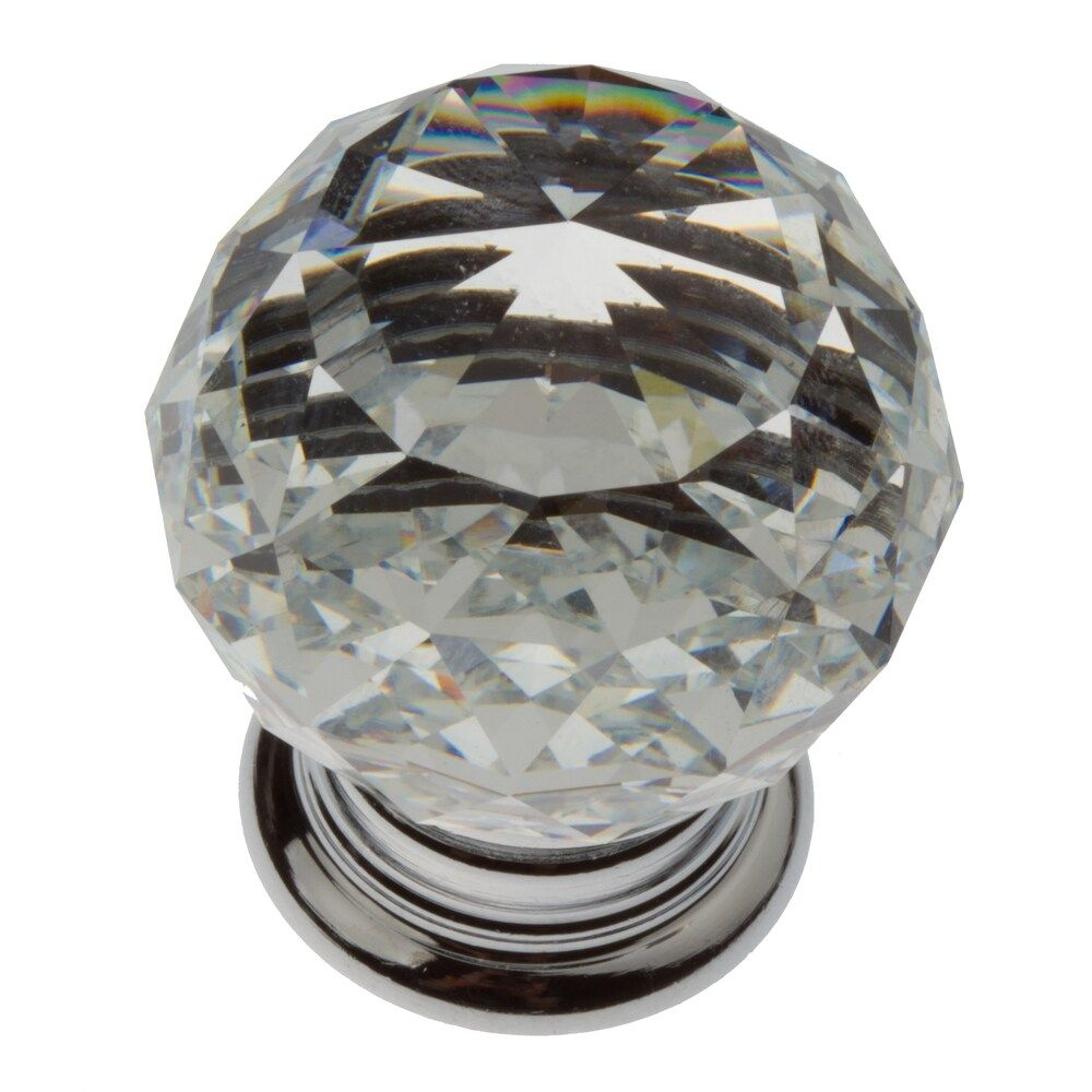 Fix up your dresser drawers, vanities, or kitchen cabinets with this pack of 10 knobs by GlideRite. Fabricated from polished chrome and K9 crystal, these knobs glisten when illuminated, adding a glam touch to your room. The clear finish easily complements your appliances and other neutral furnishings. GlideRite Hardware K9 Crystal Knob Finish: Clear Dimensions: 1.1875 inches x 1.5 inch projection Standard .875-inch installation screws included Base: .875-inch Polished Chrome Each pull is individ