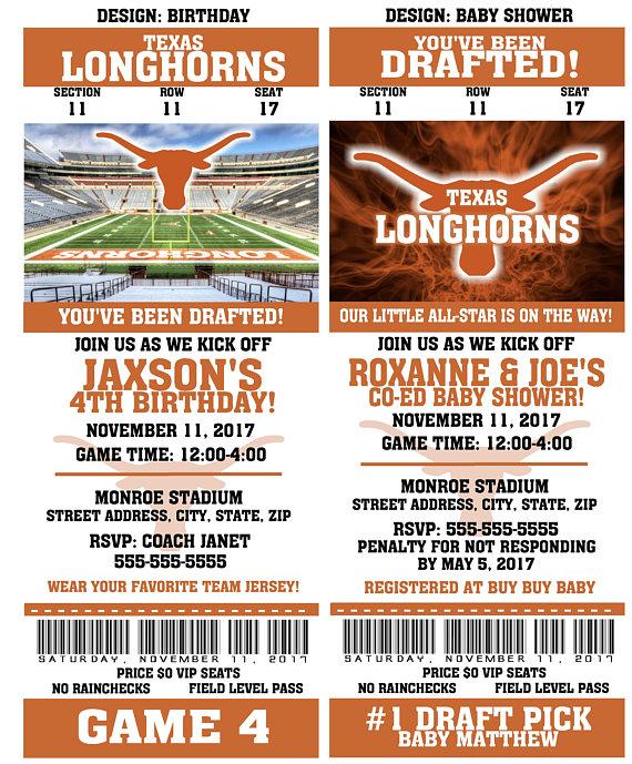 Printable Texas Longhorns College Football Birthday Party