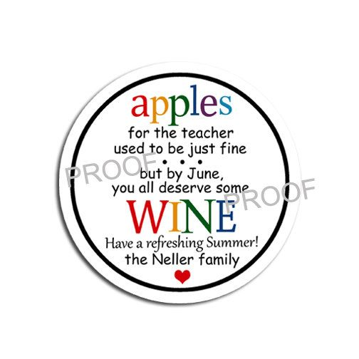 Teacher Wine Gift Tag Apples for the teacher by