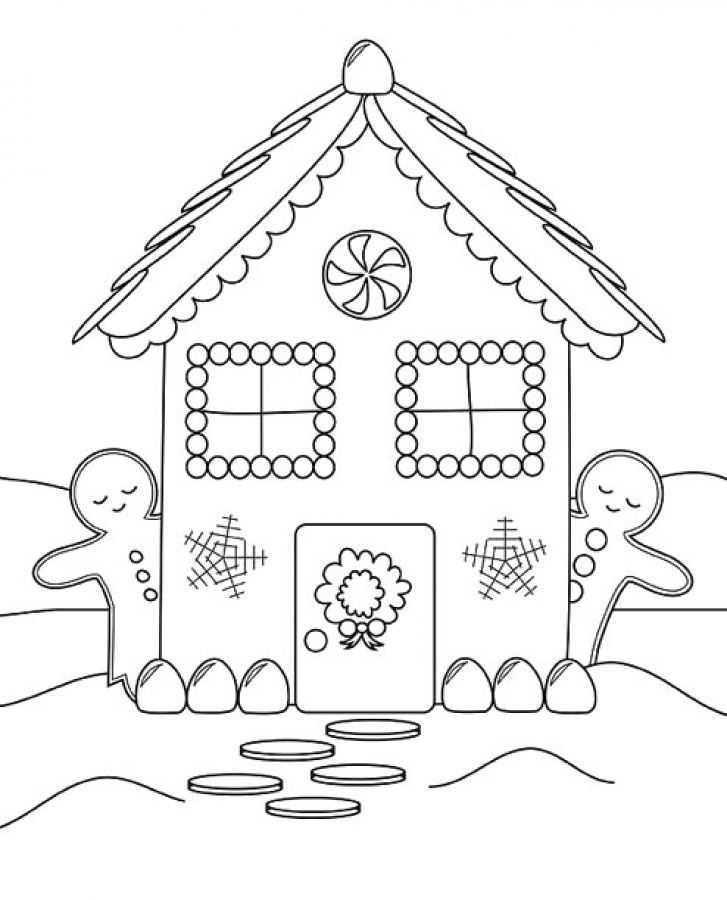 Two Gingerbread Men Hiding Behind A Gingerbread House Coloring Pages