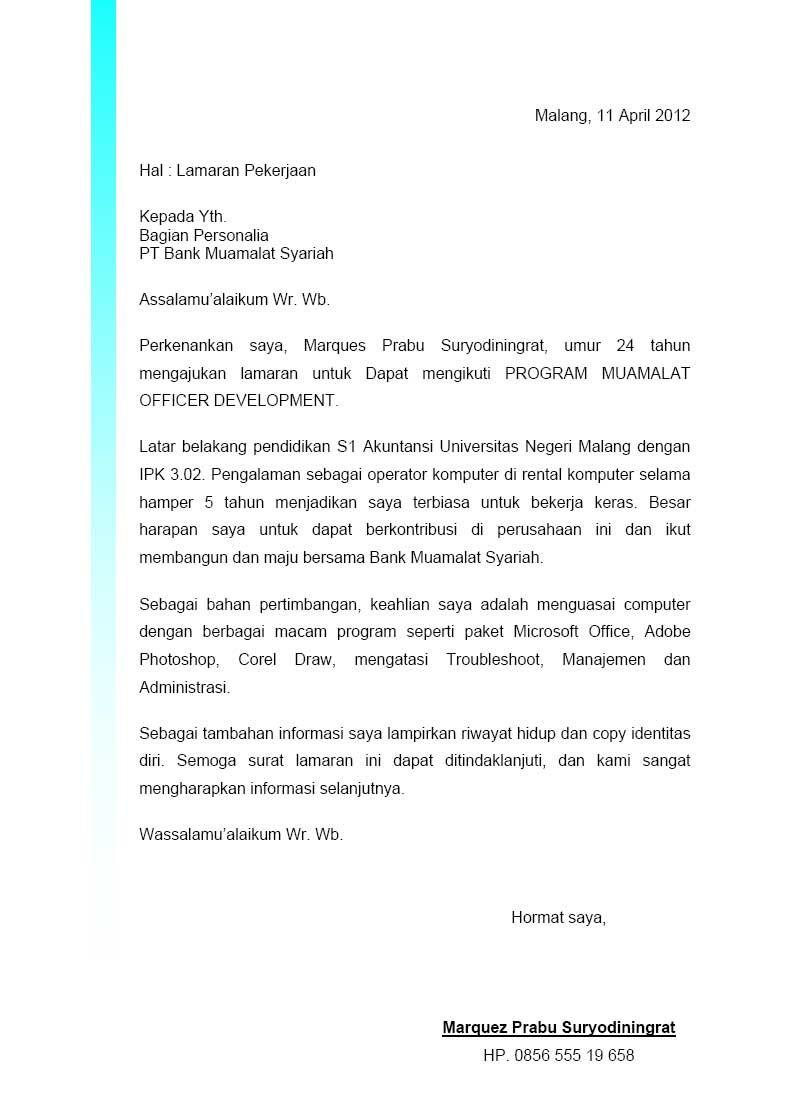 Contoh Surat Lamaran Dan Cv Untuk Bank Download Kumpulan Gambar