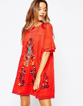 Vestido en color tomate Perfectly Victorian de Free People