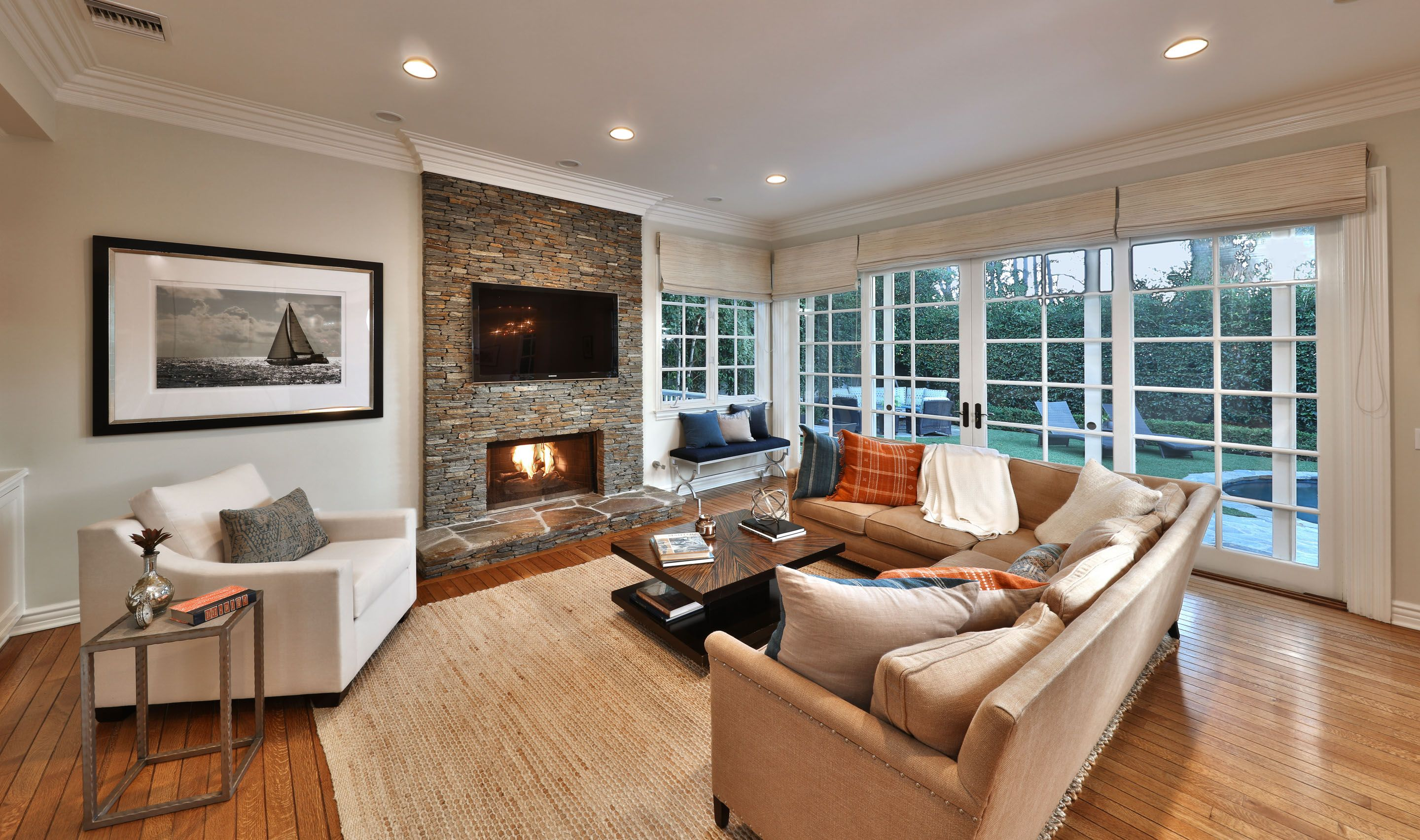 Modern Luxury Living Room With Stone Fireplace Luxury Living