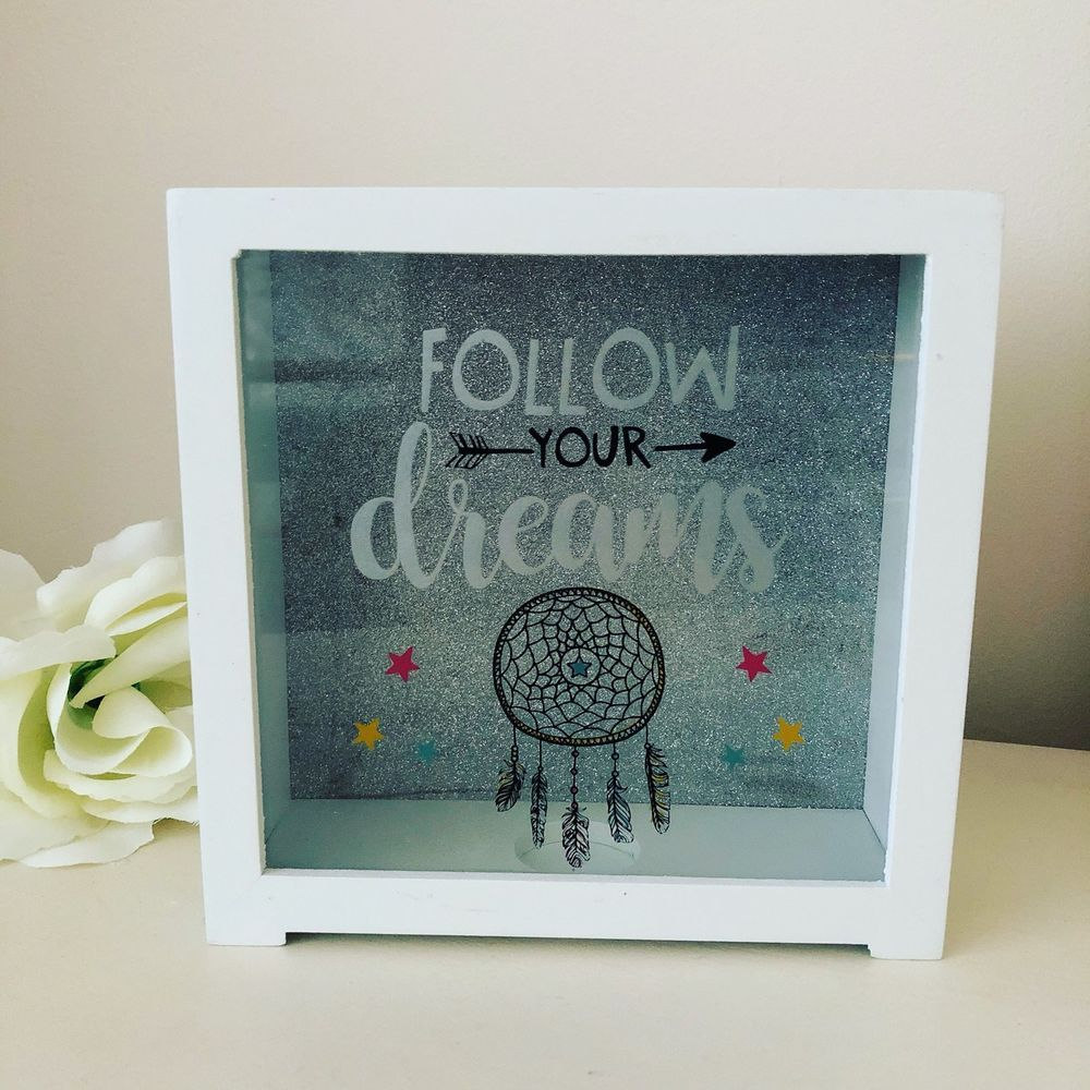 Follow Your Dreams Glitter Money Box Fund Coin Bank Savings Brand