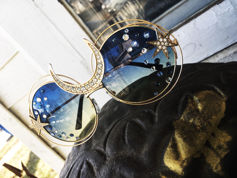 5d8079b7293 Oversized sunglasses embellished moon and stars sunnies edc outfit  Coachella fashion Swarovski Crystals eyewear rave festival