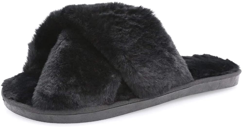 Womens House Fuzzy Slippers Leopard Cross Band Soft Plush FluffySlippers Furry