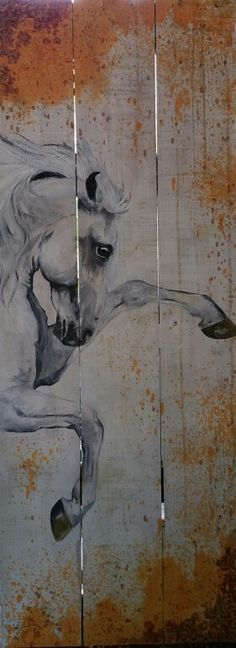 Horse painted on pallet wood by debra faul. I got the idea from a picture painted by Elise Genest.