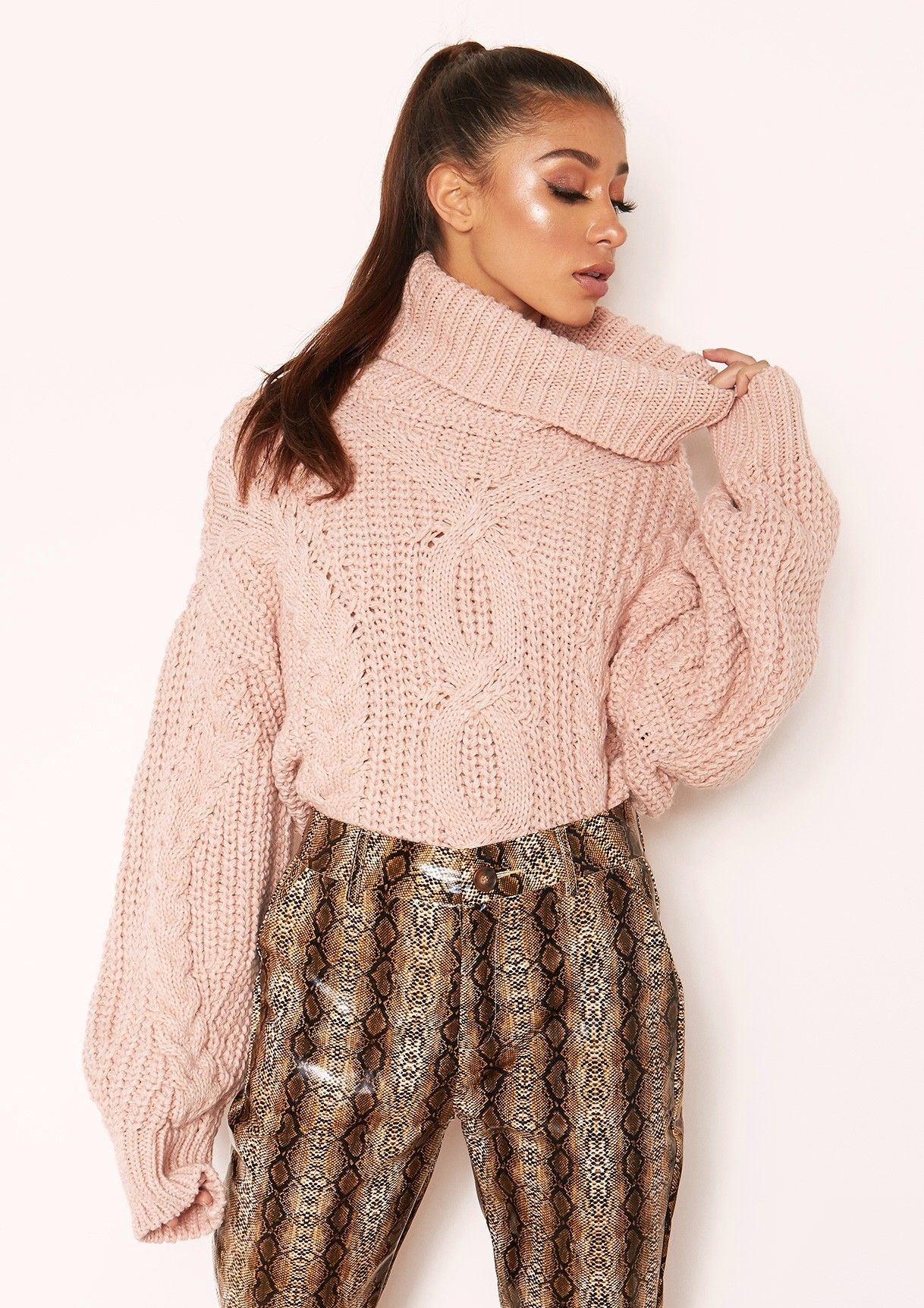 Missyempire - Hana Pink Cable Knit Roll Neck Jumper  6a65d0ae0