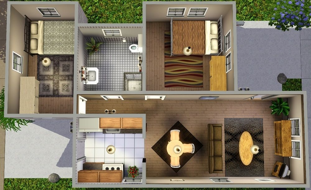 3 Starter Home Plans Terrific 24 Mod The Sims U0026quot;Ledomusu0026quot; Starter Home Plan ... | Sims Home Ideas ...