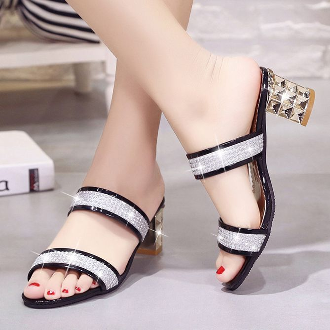 938d5ad31b23 Color Block Chunky Mid Heeled PU Casual Sandals-Berrylook  CasualSandals   FashionSandals