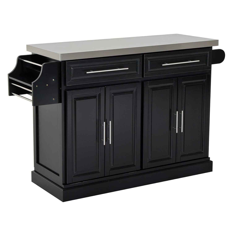 Homcom modern rolling kitchen island storage cart w stainless steel